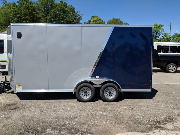 Cargo Trailer 7x16 UTV Hauler 7' tall 2 tone silver and blue
