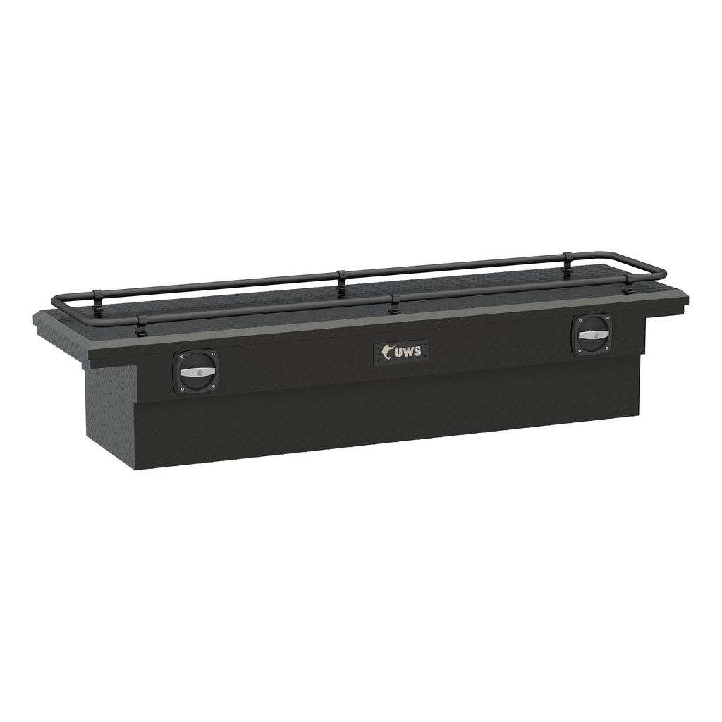 "Matte Black Aluminum 72"" Secure Lock Crossover Truck Tool Box, Low Profile, Rail"