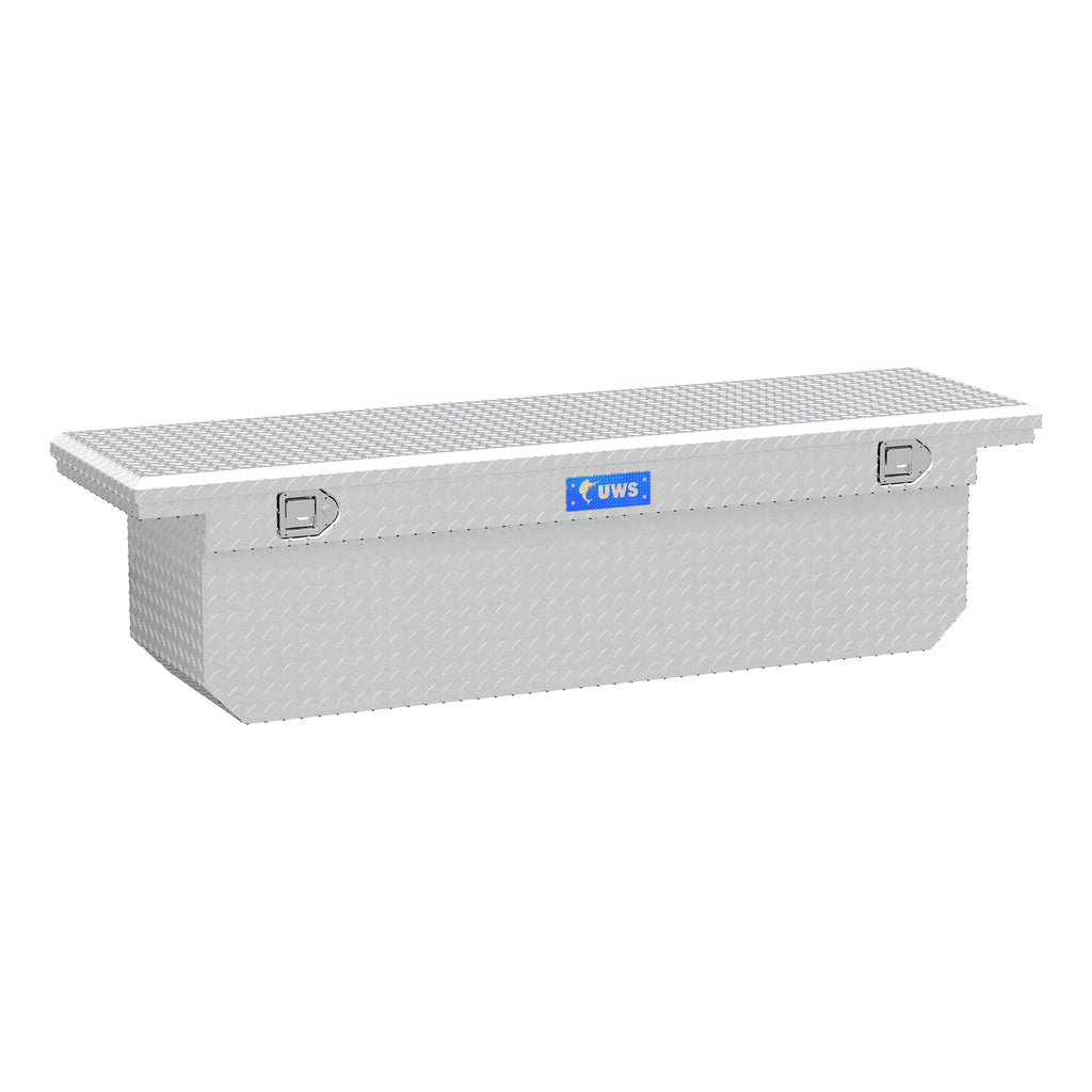 "Bright Aluminum 72"" Deep Angled Crossover Truck Tool Box with Low Profile"
