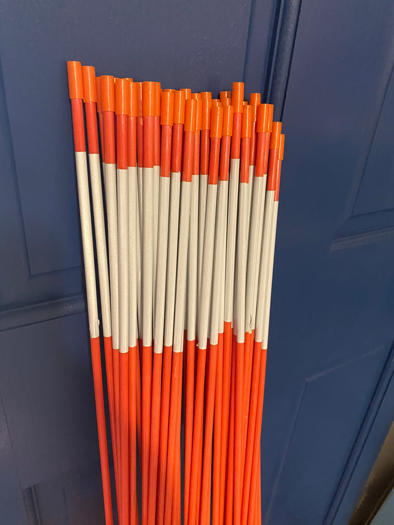 48 inch Fiberglass Driveway Marking Stakes  -  Orange with Reflector