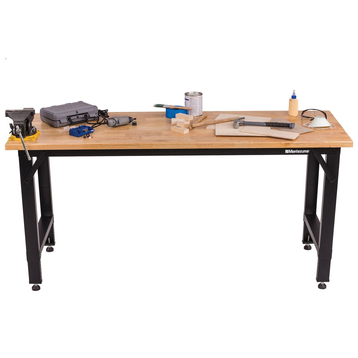 6 FT. ADJUSTABLE HEIGHT STEEL WORKBENCH WITH SOLID WOOD WORK TOP