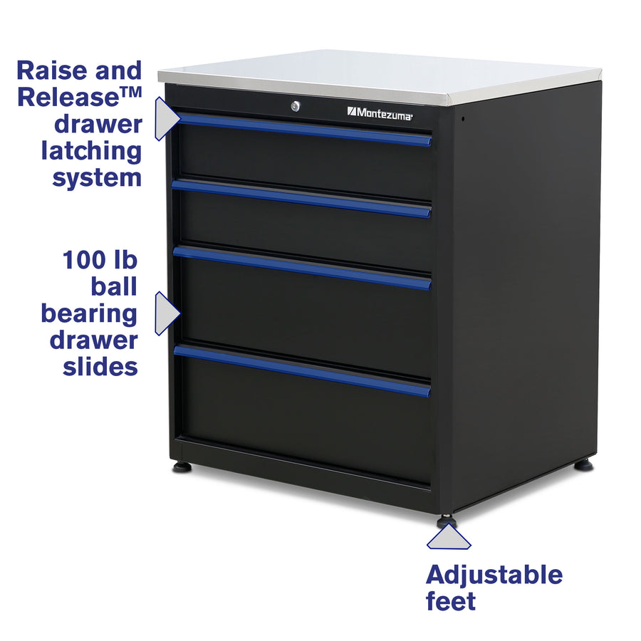 4-Drawer Base Cabinet with Stainless Steel Worktop