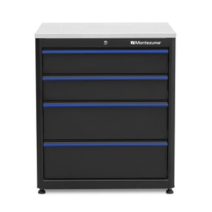 Montezuma four drawer cabinet with stainless steel worktop