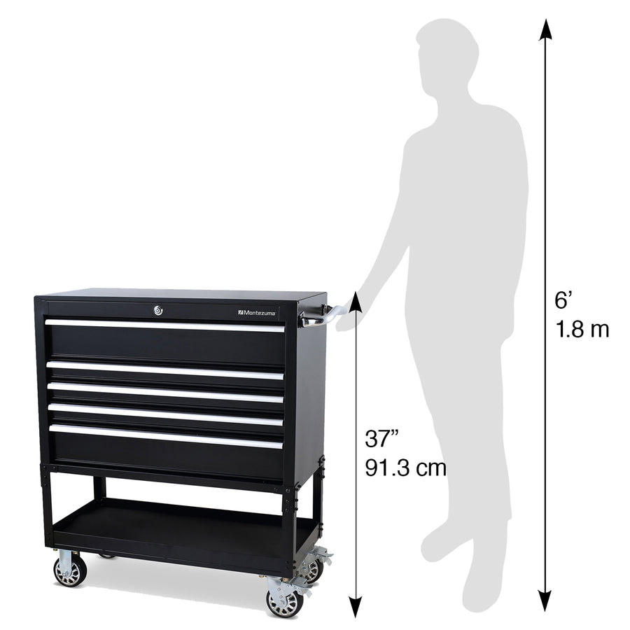 36 in. 5-Drawer Utility Cart