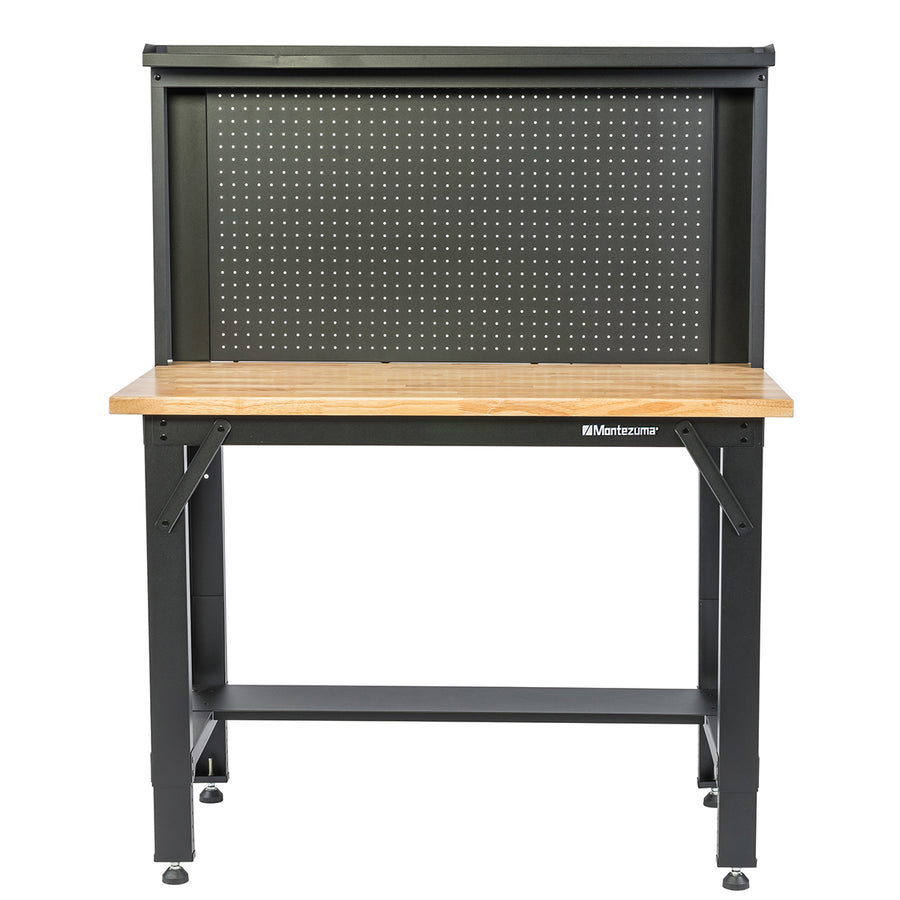4 ft. Adjustable Height Steel Workbench with Pegboard Back Wall