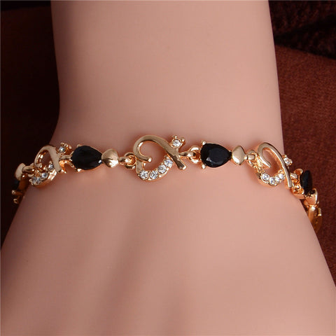 Gold Plated Crystal Heart Bracelet - Luxury Goods Mall