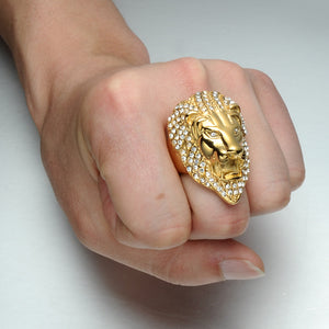 Gold-Plated Rhinestone Lion Ring™ - Luxury Goods Mall