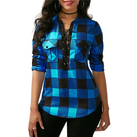 Lace Closure Plaid Shirt™ - Luxury Goods Mall