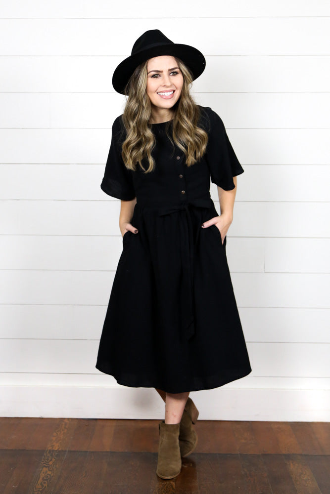 Black Side Button Dress