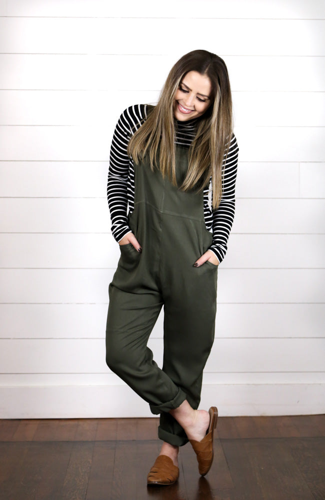 Olive Green Jumpsuit Overalls