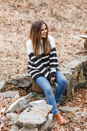 Black and White Striped Turtleneck Tunic Sweater