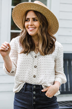 Darling Dot Button Down Top