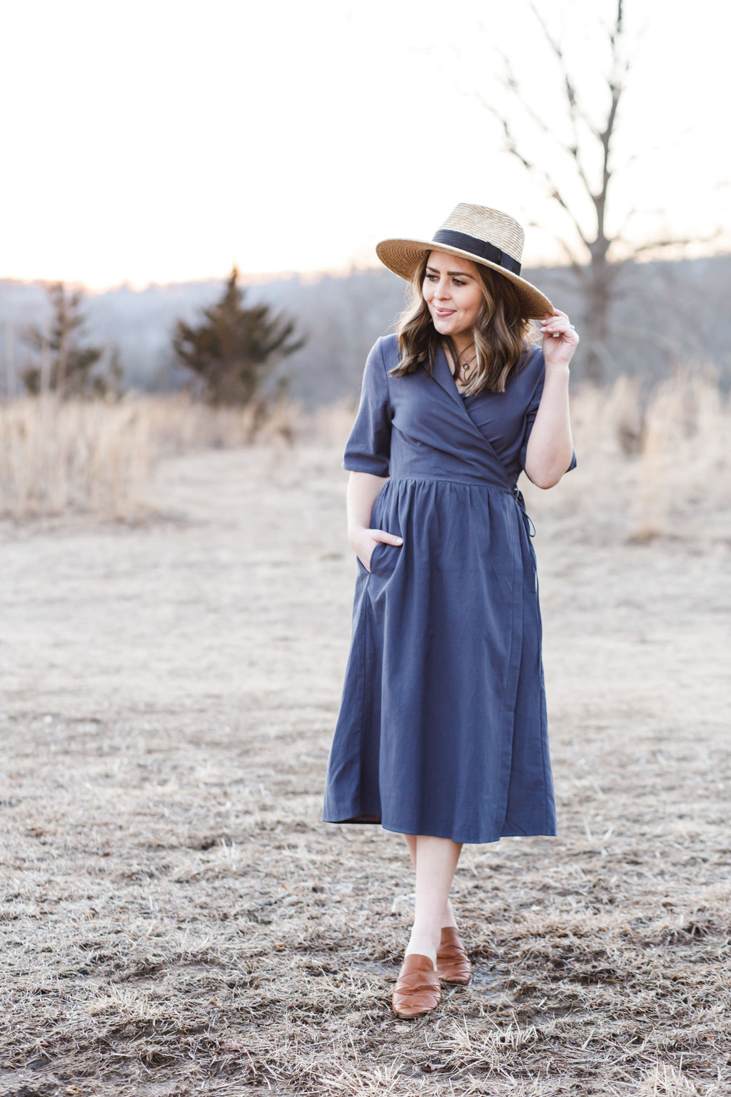 Blueish Charcoal Wrap Dress