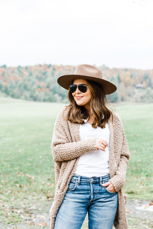 Taupe Boucle Cardigan