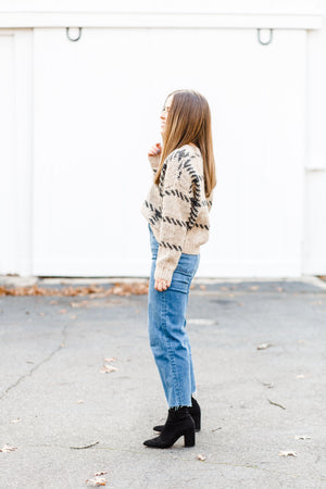 Taupe Cropped Plaid Stitch Sweater