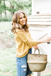 Mustard Breton Striped Top