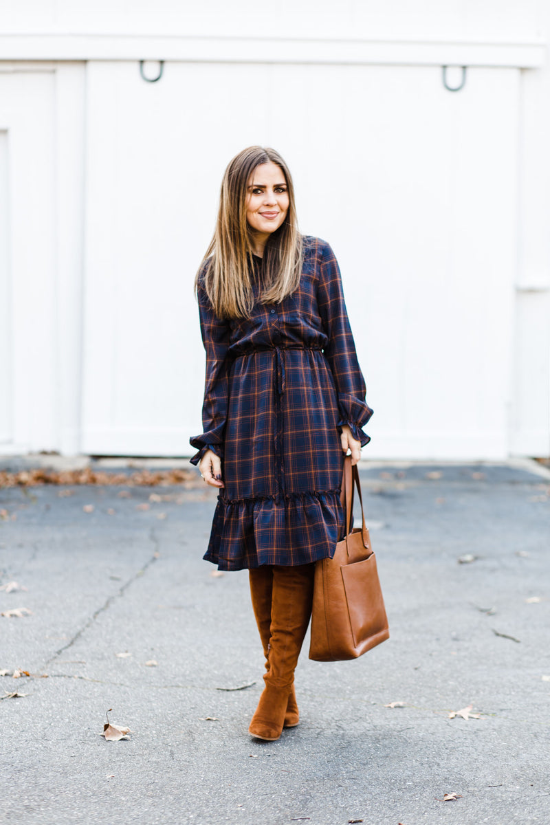 Navy Plaid Midi Dress
