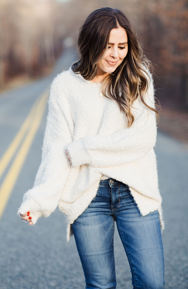 Soft White Hooded Sweater