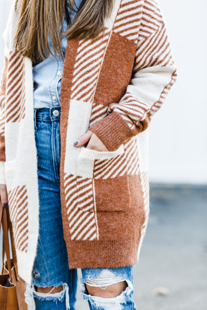Buffalo Check Rust Cardigan