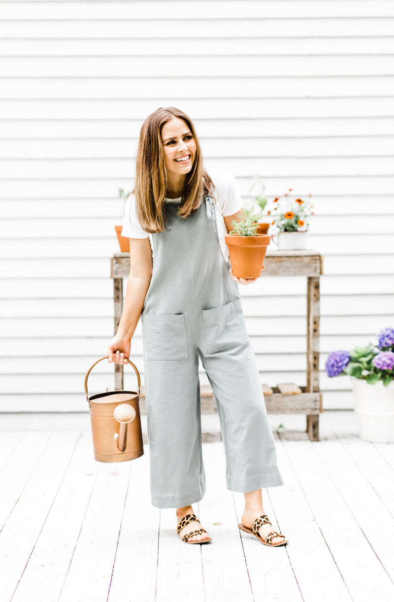 Wide-Leg Sage Jumpsuit