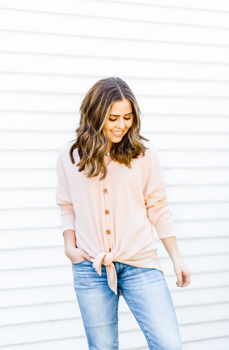 Blush Waffle Knit Button-up