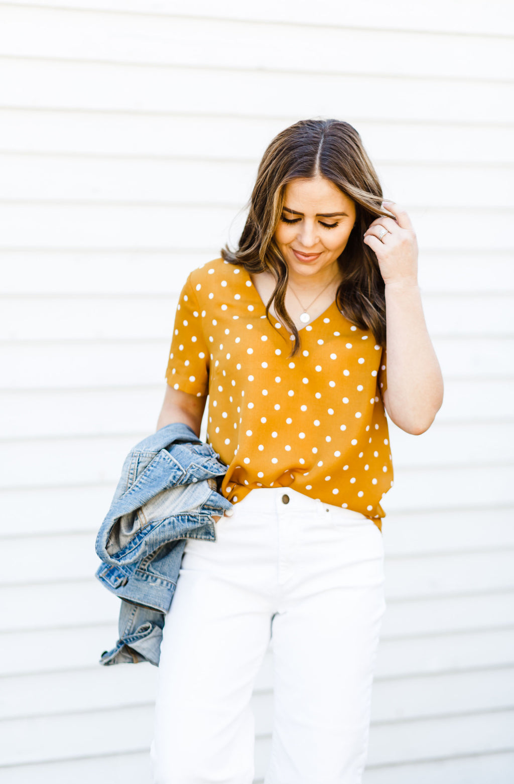 Mustard and White Polka Dot Top