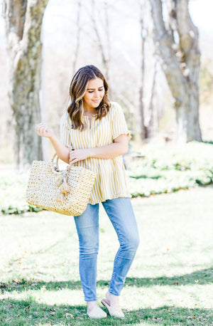 Soft Mustard and White Striped Peplum Top