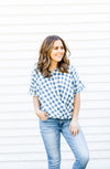 Blue and White Gingham Summer Top.
