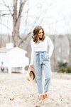 Chambray Striped Paper-bag Waist pants