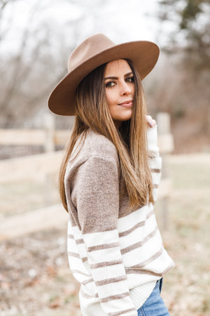 Taupe and White Striped Colorblock Sweater