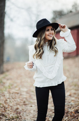 White Ruffle Lace Blouse