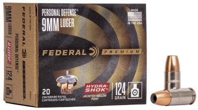 Federal 9mm 124gr Hydra-Shok
