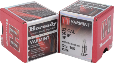 Hornady 22cal 55gr SP W/Cannelure #2266 - BLUE COLLAR RELOADING