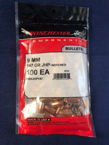 Winchester 9mm 147gr JHP-Notched