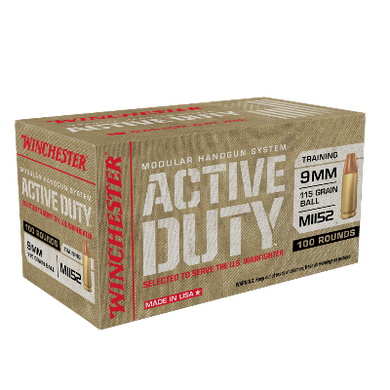 Winchester Active Duty MHS 9mm 115gr FMJ (100ct)