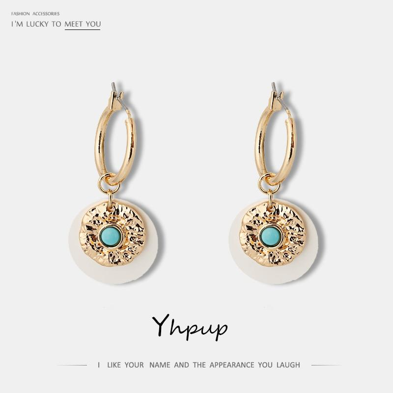 Yhpup Trendy Vintage Round Copper Sheet Dangle Earrings Geometric Ethnic Charm Accessories for Women Party Jewelry Gift 2019 - Flairsuite Jewels
