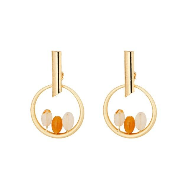 Yhpup Trendy Minimalist Copper Round Geometric Dangle Earrings Natural Stone Earrings Brincos for Women Party Jewelry Gift 2019 - Flairsuite Jewels
