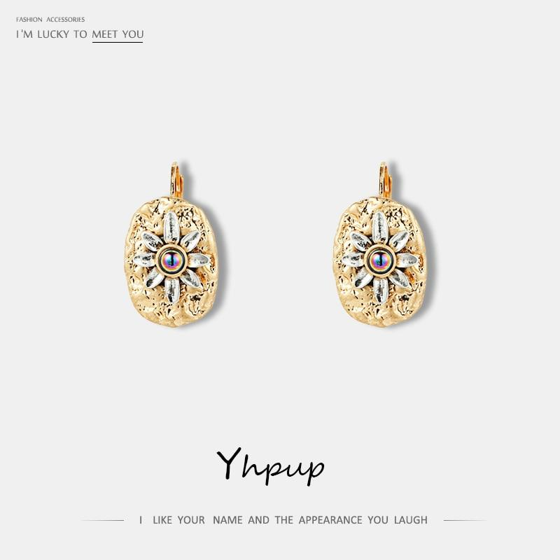 Yhpup Trendy Simple Design Vintage Flower Zinc Alloy Stud Earrings Tiny Small Metal Retro Earrings for Women Party Jewelry Gift - Flairsuite Jewels