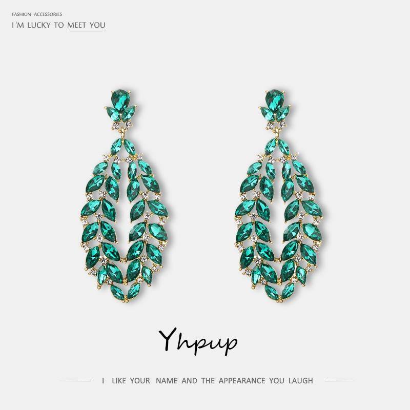 Yhpup Fashion Brand Classic Hollow Geometric Luxury Dangle Earrings Colorful Rhinestone Wedding Jewelry Bride Female Accessories - Flairsuite Jewels