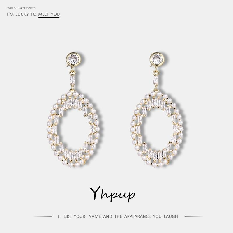 Yhpup Fashion Luxury AAA Zircon Shining Pearls Dangle Earrings Statement Charm Bride Wedding Accessories Boucle D'Oreille Femme