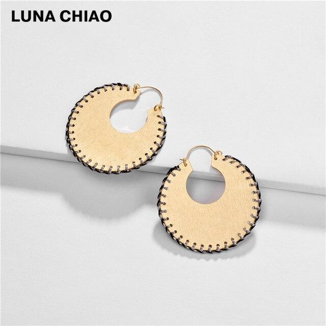 LUNA CHIAO Trendy Fashion Big Metal Hoop Earring Braided Handmade Big Boho Statement Earrings for Women - Flairsuite Jewels
