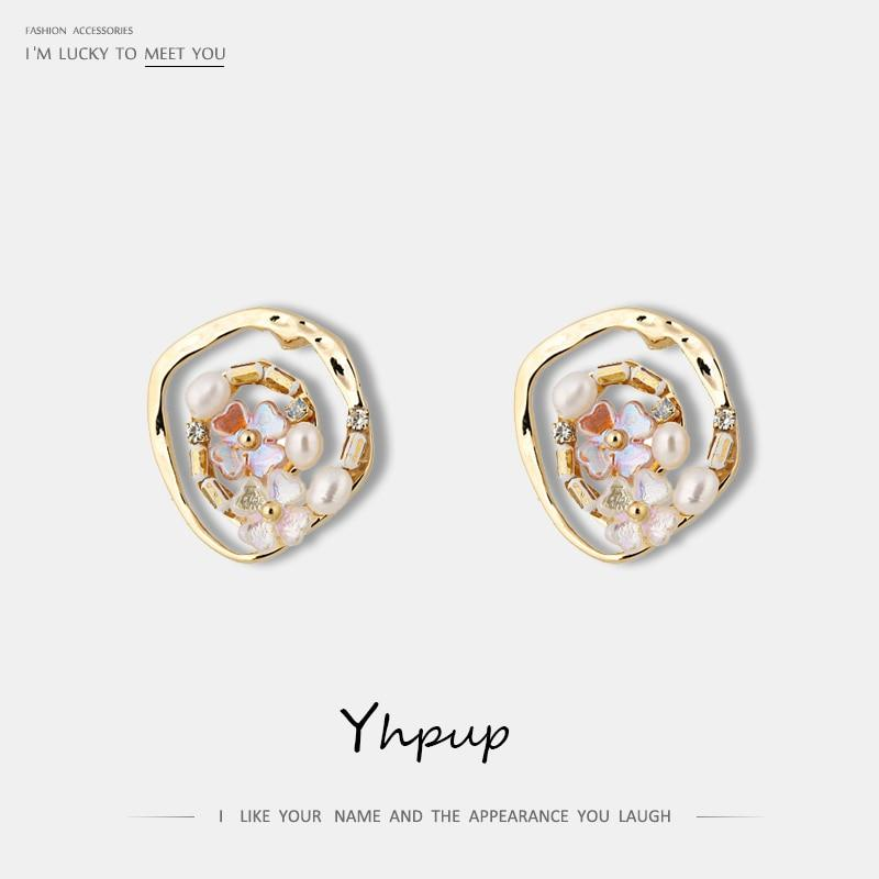 Yhpup 2019 Korean Elegant Romantic Exquisite Natural Pearls Flower Stud Earrings Copper 14 K Golden Earrings Pendientes Mujer - Flairsuite Jewels