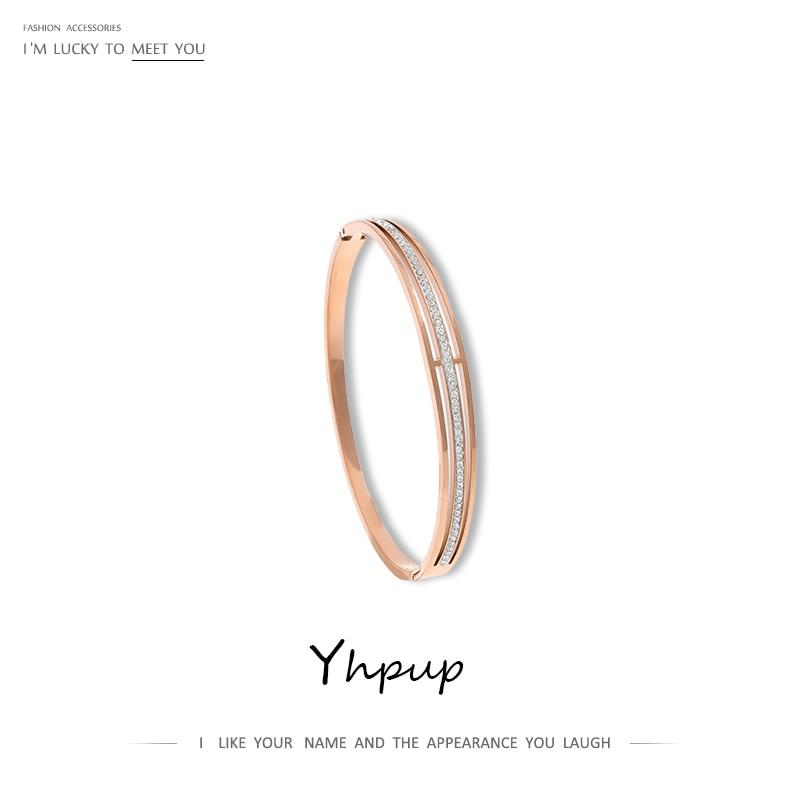 Yhpup 2019 Minimalist Fashion Rose Gold Bracelet Luxury Rhinestone Stainless Steel accesorios mujer Bangles Christmas Gift New - Flairsuite Jewels