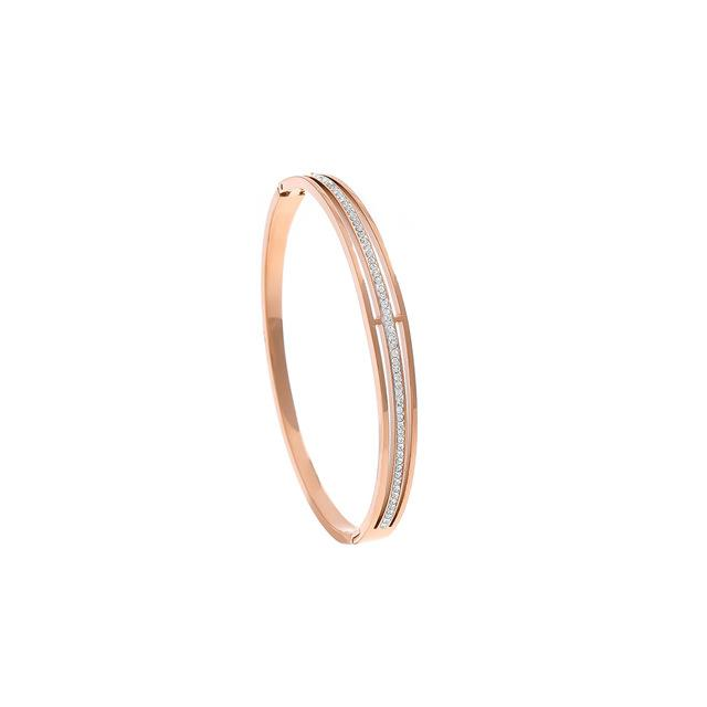 Yhpup 2019 Minimalist Fashion Rose Gold Bracelet Luxury Rhinestone Stainless Steel accesorios mujer Bangles Christmas Gift New