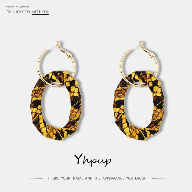 Yhpup 2019 Minimalist Hyperbole Snake Skin Round Dangle Earrings S925 Jewelry Copper Handmade Charm Oorbellen Orecchini Donna