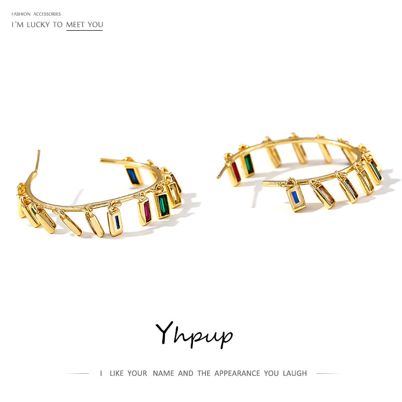 Yhpup Brand Personality Rainbow Hoop Earrings Vintage Bohemia Jewelry Charm Copper Gold Brincos for Women Party Jewelry Gift New