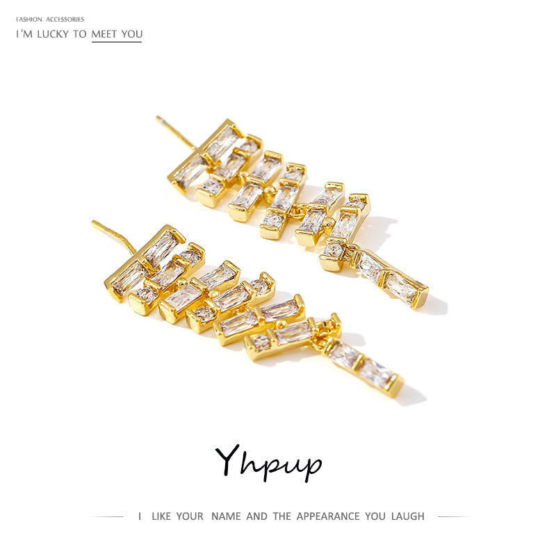 Yhpup Luxury Exquisite Zirconia Dangle Earrings Shining Charm Geometric Drop Earrings for Female Wedding Party Gift S925 Post