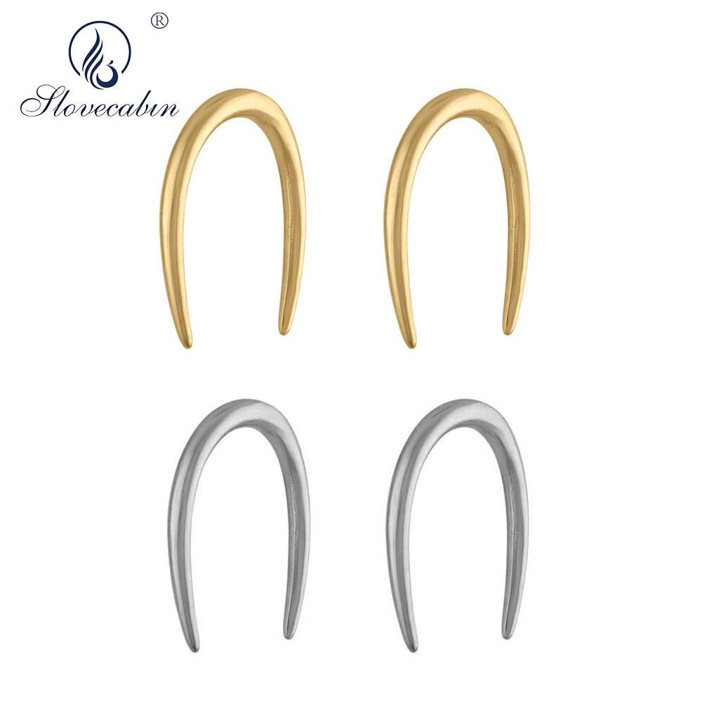 Slovecabin 925 Sterling Silver Gold Whisper Open Hoop Earring Horseshoes Circle Loops 2019 Women Accessories Huggies Jewelry