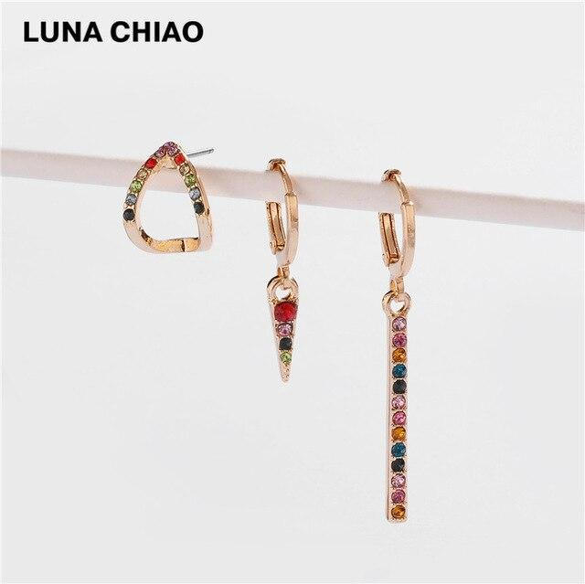 LUNA CHIAO Fashion Jewelry Rainbow Colorful Crystal Metal Pendant Drop Earring Set for Women - Flairsuite Jewels