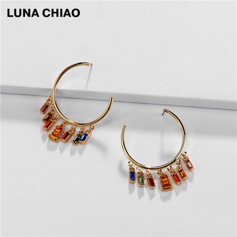 LUNA CHIAO Crystal Jeweled Big Hoop Earring Charm Chandelier Statement Earrings Jewelry for women - Flairsuite Jewels